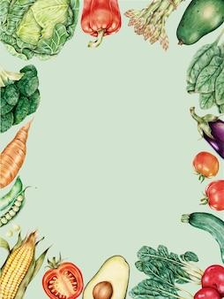 Vetor de moldura de borda de vegetais frescos desenhado à mão