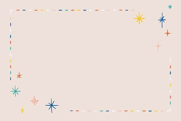 Vetor de moldura de estrela colorida em fundo bege