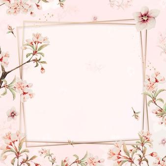 Vetor de moldura de flor de cerejeira japonesa, remix de obras de arte de megata morikaga