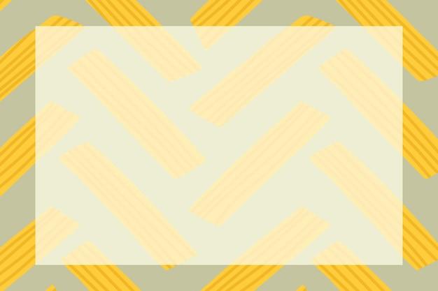 Vetor de moldura de massa penne fofa em forma de retângulo doodle padrão de comida