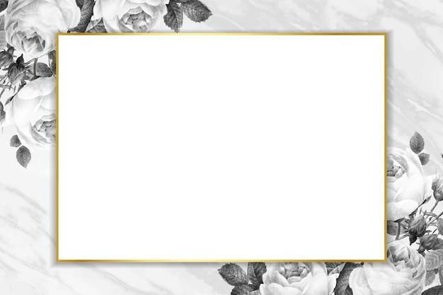 Vetor de moldura de retângulo dourado em branco