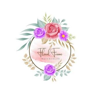 Vetor de moldura floral de ação de graças em aquarela