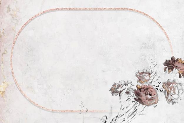 Vetor de moldura oval rosa cintilante