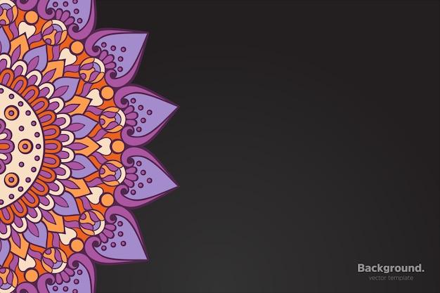 Vetor de moldura preta com mandala oriental abstrata