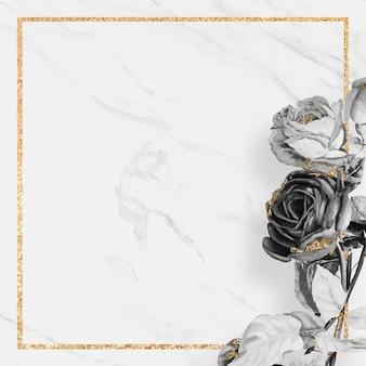Vetor de moldura quadrada dourada em branco
