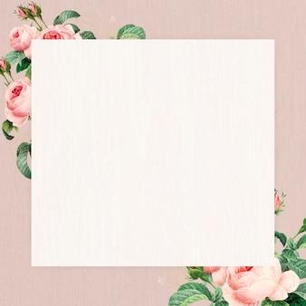 Vetor de moldura quadrada floral em branco