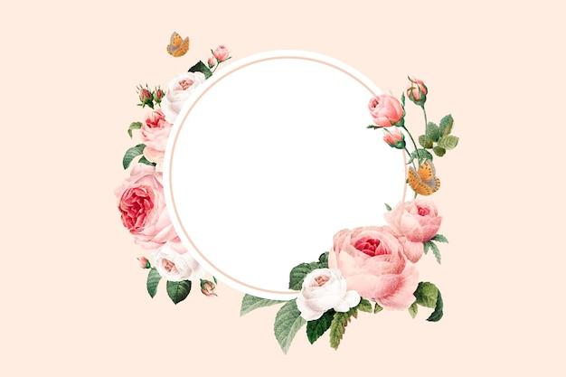 Vetor de moldura redonda floral em branco