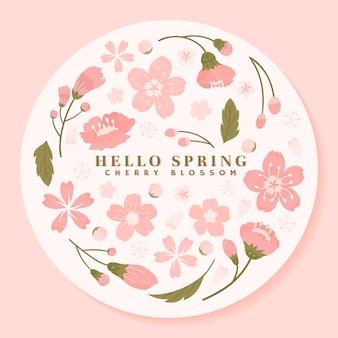 Vetor de moldura redonda rosa flor de cerejeira