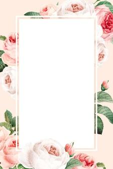 Vetor de moldura retangular floral em branco