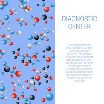 Vetor de molécula ou átomos para cartaz do centro de diagnóstico com modelo de texto