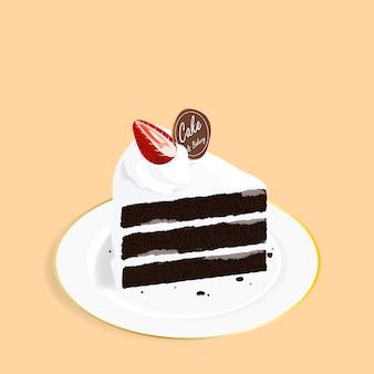 Vetor de morango isométrica bolo de chocolate