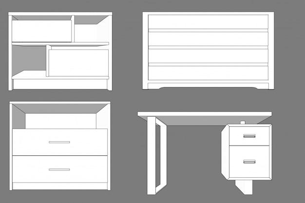 Vetor de móveis de madeira