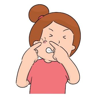 Vetor de mulher apertando acne