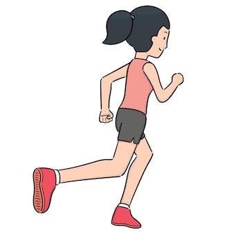 Vetor de mulher correndo