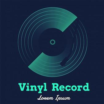 Vetor de música de discos de vinil com gráfico escuro
