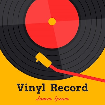 Vetor de música de discos de vinil com palavra de registro de vinil