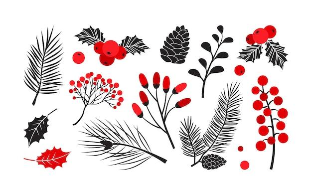 Vetor de natal plantas azevinho decoração de inverno abeto e pinheiro baga folhas ramos ilustração