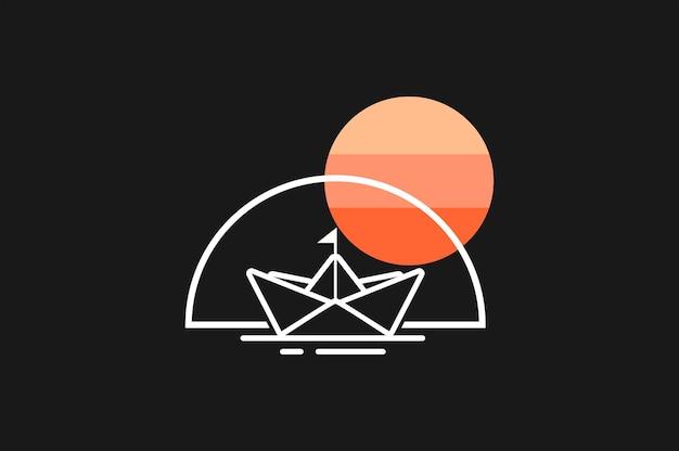 Vetor de navio de origami de logotipo de barco de papel