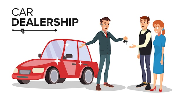 Vetor de negociante de carro. agente de concessionária de carros