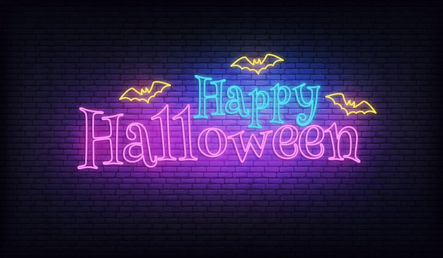 Vetor de néon de halloween. tipografia de néon brilhante de halloween com morcegos a voar