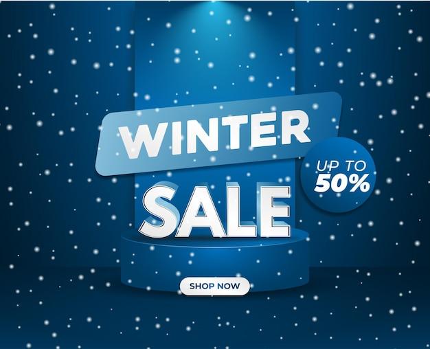 Vetor de neve de pódio abstrato azul frio venda de inverno