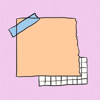 Vetor de nota adesiva em fundo rosa pastel