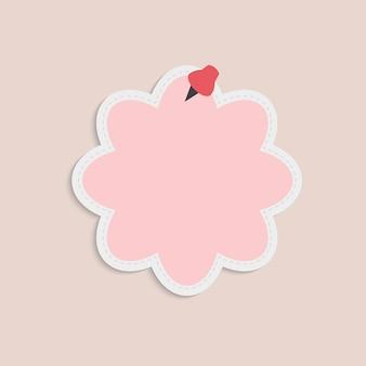 Vetor de nota de lembrete de bolha-de-rosa em branco