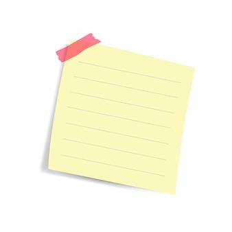Vetor de nota de papel lembrete quadrado amarelo em branco