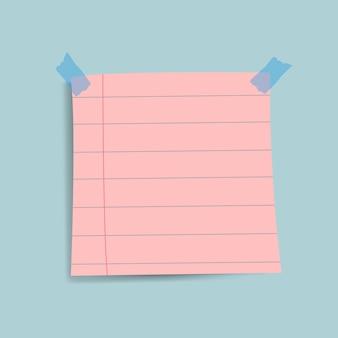 Vetor de nota de papel lembrete rosa em branco