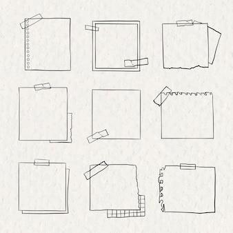 Vetor de nota digital definido em estilo desenhado à mão
