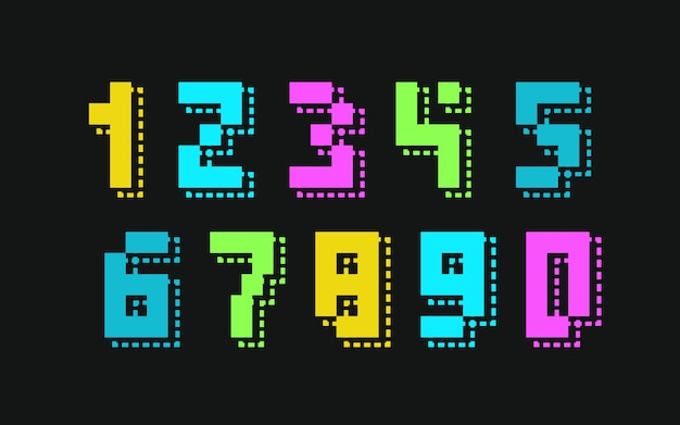 Vetor de número definido estilo de cor neon