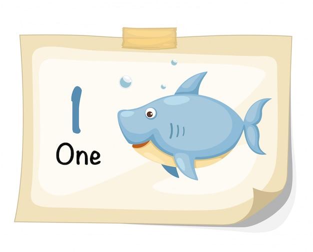 Vetor de número um tubarão