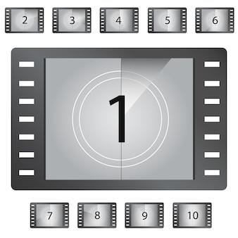 Vetor de números de contagem regressiva do filme