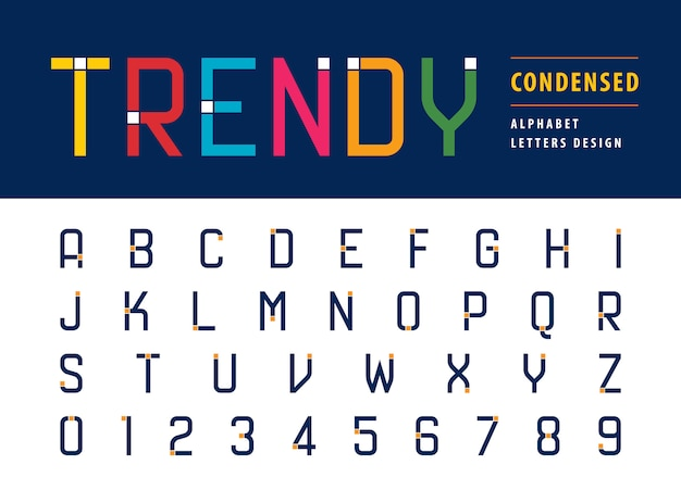 Vetor de números e letras do alfabeto moderno na moda