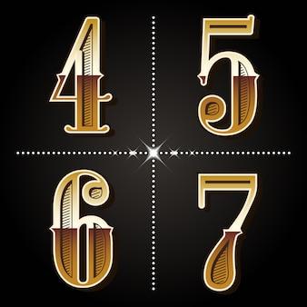 Vetor de números vintage letras do alfabeto gradiente ocidental