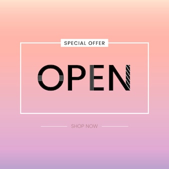 Vetor de oferta especial de sinal aberto