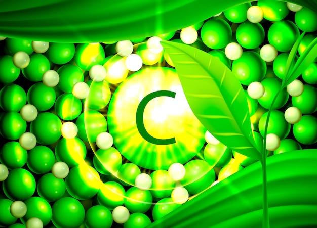 Vetor de óleo medicinal de componentes orgânicos de vitamina c no soro