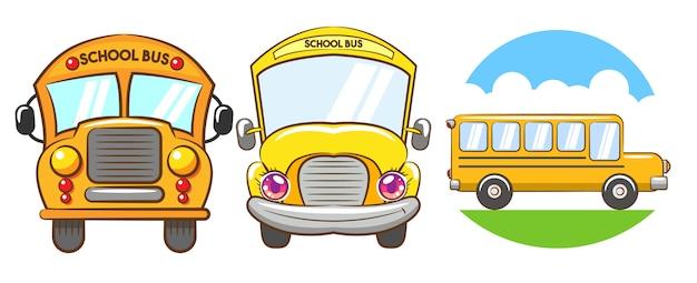Vetor de ônibus escolar definir projeto de clipart