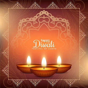 Vetor de origem étnica elegante happy diwali festival