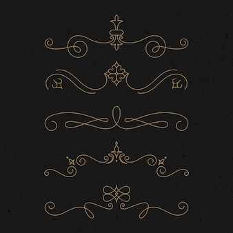 Vetor de ornamento vintage definido em ouro de luxo