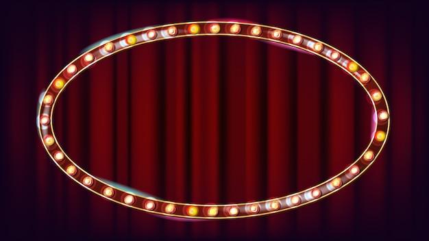 Vetor de outdoor retrô. placa de sinal de luz a brilhar. quadro de lâmpada de brilho realista. carnaval, circo, estilo cassino. ilustração