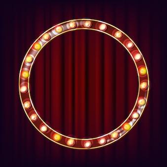 Vetor de outdoor retrô. placa de sinal de luz a brilhar. quadro de lâmpada de brilho realista. elemento brilhante. luz de néon do vintage. circo, estilo casino. ilustração