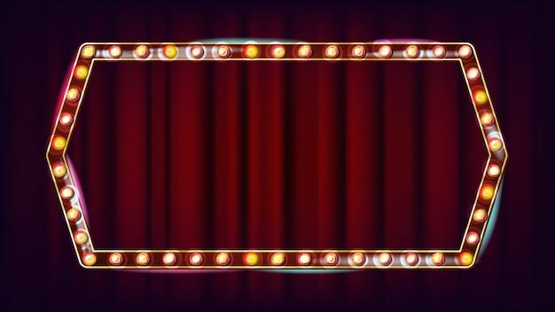 Vetor de outdoor retrô. placa de sinal de luz a brilhar. quadro de lâmpada de brilho realista. elemento de incandescência 3d elétrico. carnaval, circo, estilo cassino. ilustração