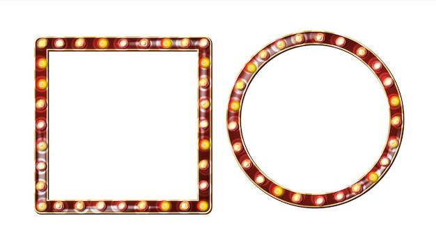 Vetor de outdoor retrô. placa de sinal de luz a brilhar. quadro de lâmpada de brilho realista. elemento de incandescência 3d elétrico. luz de néon iluminada dourada do vintage. ilustração isolada