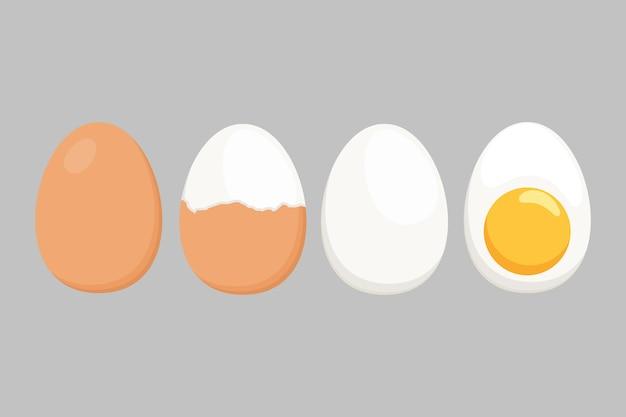 Vetor de ovo isolado em um fundo branco. conjunto de ovos cozidos, meio descascados, descascados, fatiados. ilustração vetorial. ovos em várias formas em estilo de ilustração plana