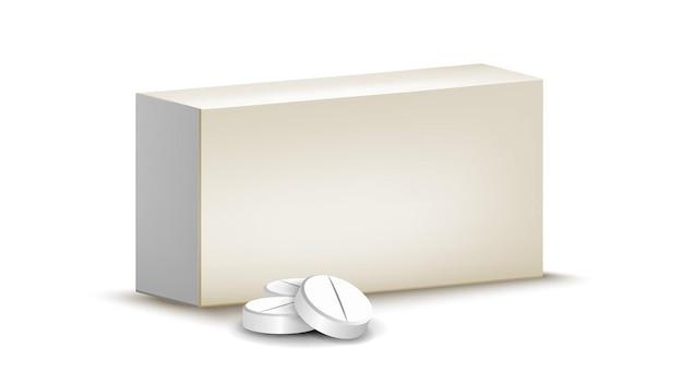 Vetor de pacote em branco de pílulas farmacêuticas médicas