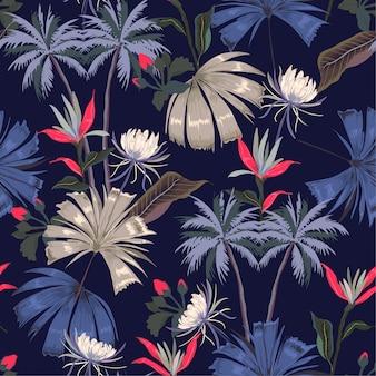 Vetor de padrão bonito sem costura tropical escuro da noite