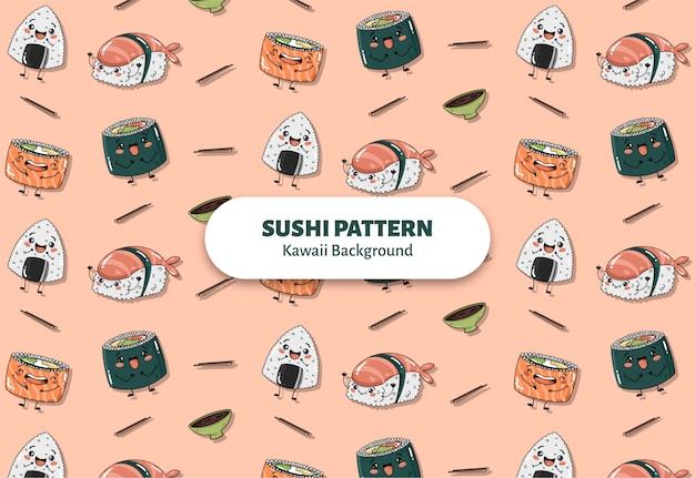 Vetor de padrão bonito sushi
