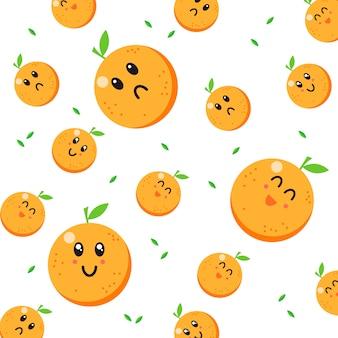 Vetor de padrão de caráter laranja fofo