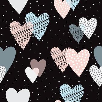 Vetor de padrão de coração bonito sem emenda
